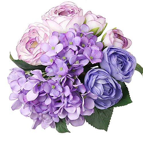 Felice Arts Artificial Flowers 12' 7 Head Silk Artificial Tea Rose & Hydrangea Bouquet for Wedding, Room, Home, Hotel, Party Decoration, Purple