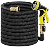 Caferria Garden Hose, Water Hose, 75ft Lightweight Expandable Garden Hose Double Latex Core, Extra Strength Fabric, Flexible Expanding Hose for Outdoor Lawn Car Watering Plants (black)