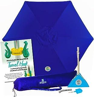 BEACHBUB All-in-One Beach Umbrella System. Includes 7 ½` (50+ UPF) Umbrella, Oversize Bag, Base & Accessory Kit