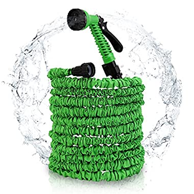 Veidoo Garden Hose,Expandable Hose,75 ft with 7 Pattern Spray Nozzle, High Pressure,Flexible for All Your Watering,Car Wash Use,Shower pet (Green)