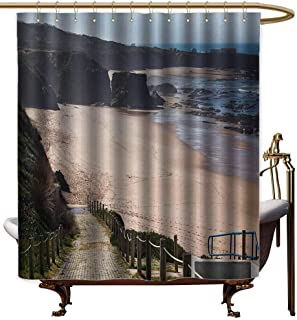 Genhequnan Beach Shower Curtains for Bathroom Western Portugal Ocean Coastline at Low Tide Vignettes Shot Canyons Wild Neat Scenery Bath Curtain Durable Waterproof W55 x L72 Inch Multicolor