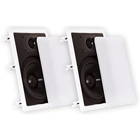 """Theater Solutions CS8W in Wall 8"""" Speakers Surround Sound Home Theater Pair, White"""