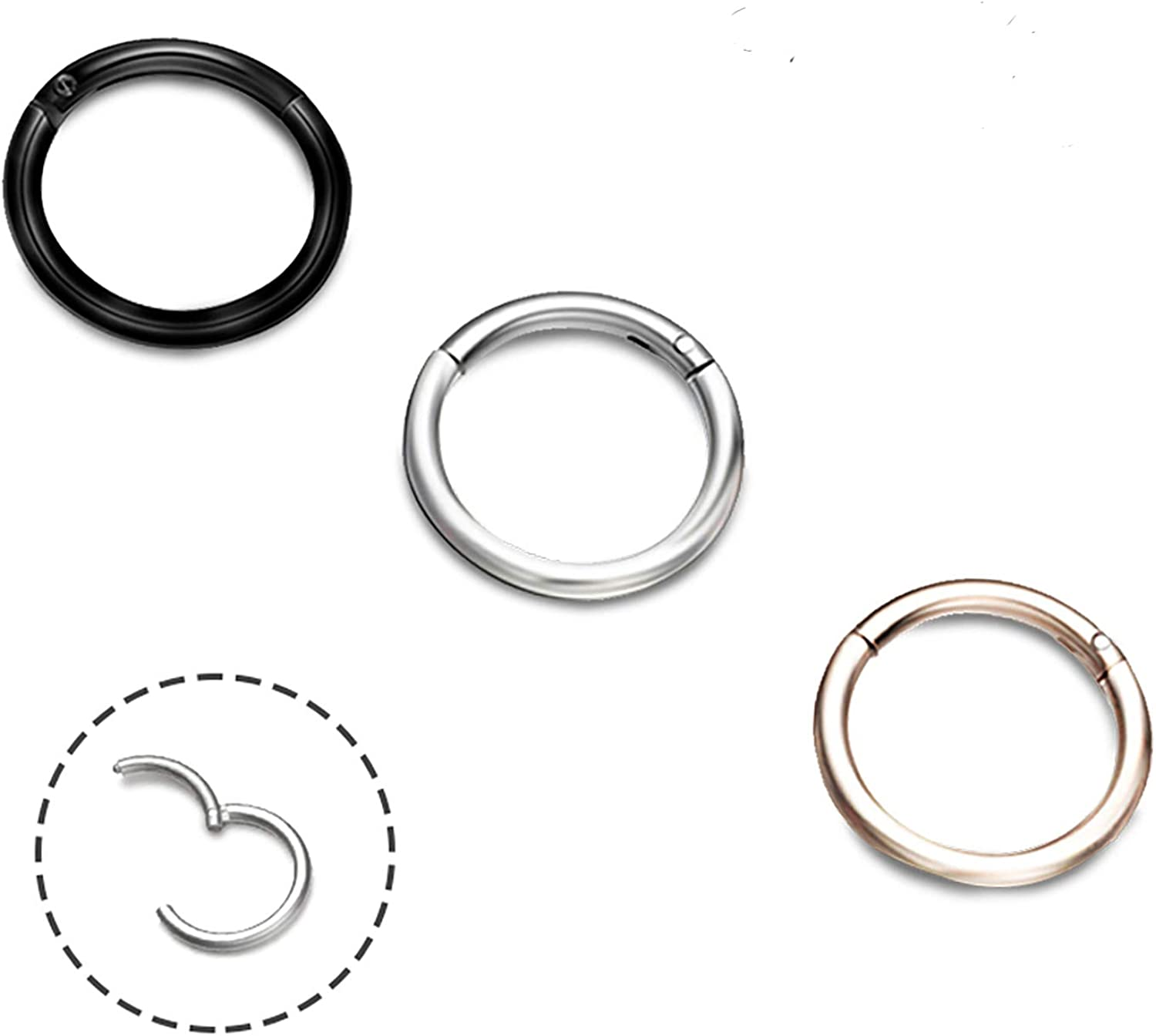 EVBEA 3-4 PCS Cartilage Earring Hoop 14G 18G 8mm 10mm 12mm Surgical Steel Septum Jewelry Daith Piercing Nose Ring …