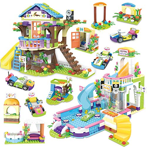 Tree House Building Block Treehouse Pool Party Creative Building Toy Set for Kids 1274 Pcs Learning Roleplay Birthday Gift with Storage Box Mini Dolls Includes Toy Juice Bar and Wave Machine