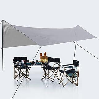 ABCCANOPY防水タープ 天幕シェード タープテント アウトドア キャンプ 3m/4m/5m/6m サンシェルター ポータブル 軽量 コンパクト 遮熱 日除け UVカット 2~8人用 携帯便利 収納バッグ付き 3m多サイズ 4色