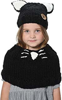 Yanekop Girl's Winter Animal Hats And Scarves Set Warm Hooded Scarf Best Gifts