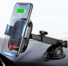 Wireless Car Charger Mount, 10w Automatic Infrared Qi Fast Charging Car Phone Holder Dashboard Compatible with iPhone Xs/Xs Max/XR/X, Galaxy Note 9/ S9/ S9+ & Other Qi Enabled 4.0-6.5 in