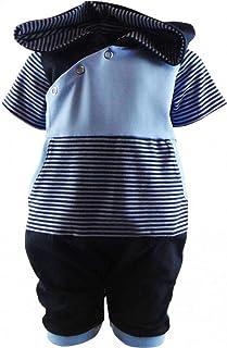KLEINER FRATZ gestreifter Baby Kinder Kurzarm Kaputzen Overall Kinder Jungen Hoodie Jumpsuit Kairo