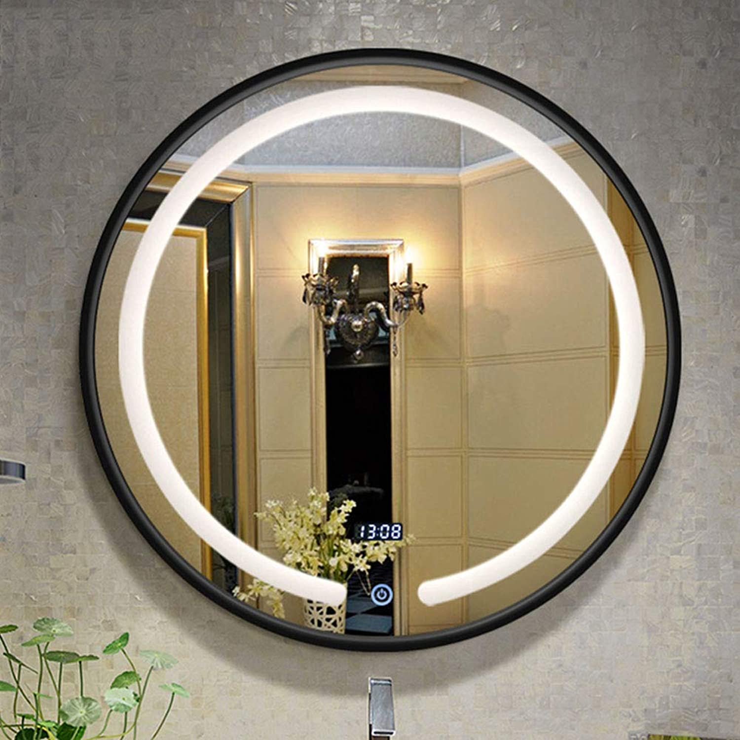 LED Illuminated bathroom mirror, Smart Touch Round Wall Mounted bathroom mirror, White Light Black Frame with time Display