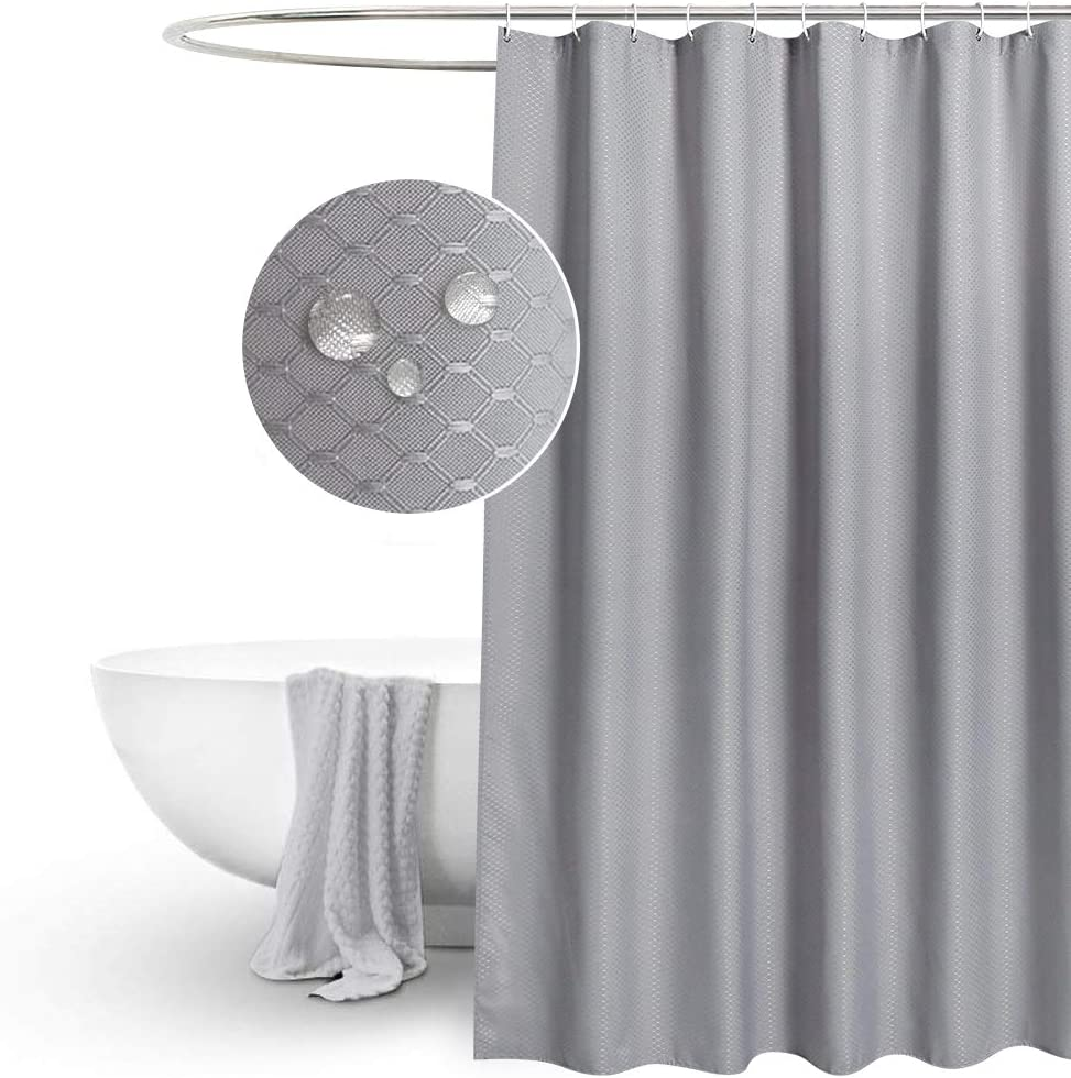 """EurCross Waffle Grey Shower Curtains Mould proof Resistant Washable, Water Repellent Heavy Duty Weighted Fabric Shower Curtains Bathroom 180 x 180cm Drop 72""""W x 72""""L Gray"""