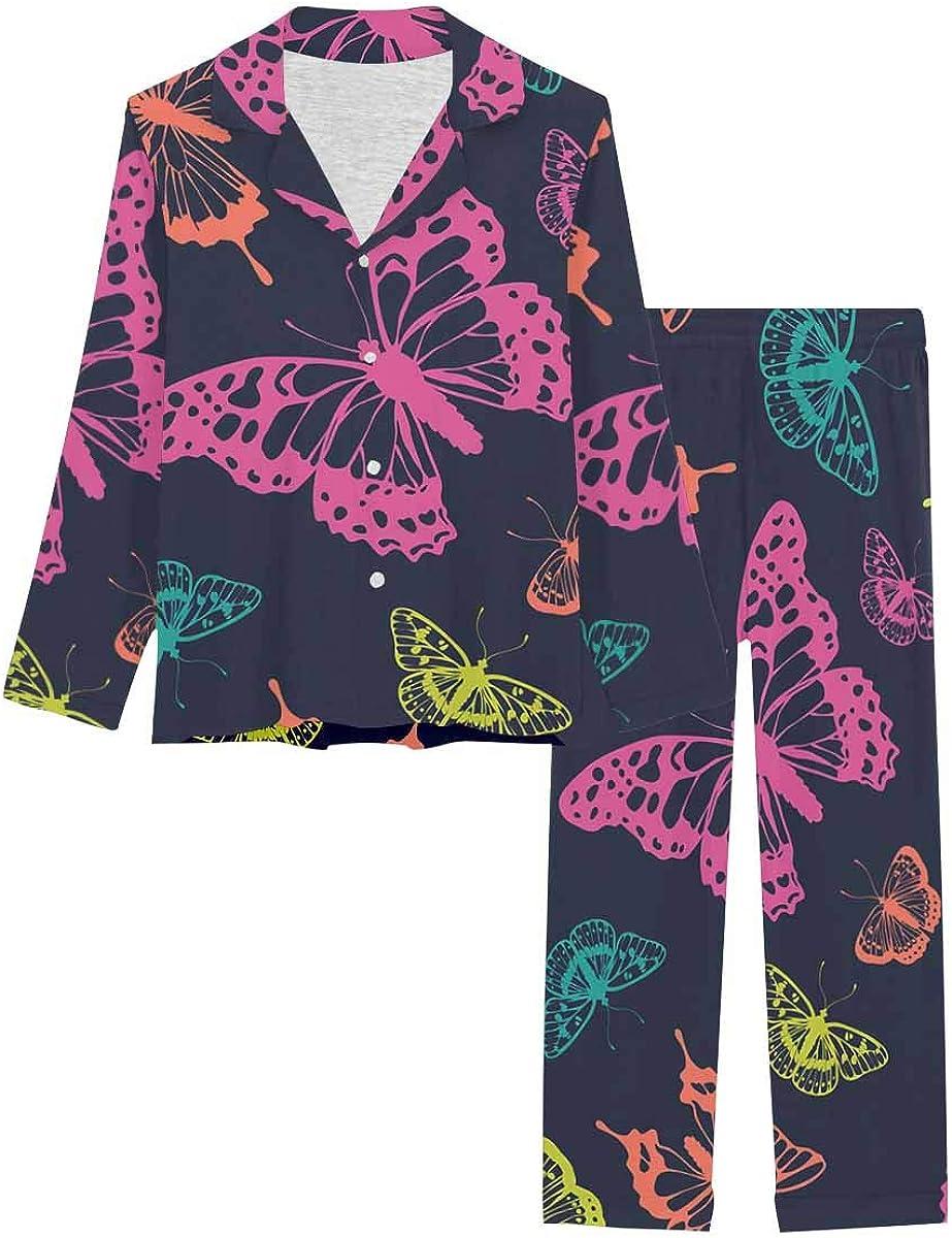 InterestPrint Long Sleeve Button Down Nightwear with Long Pants Butterflies Pattern