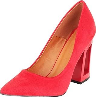 Cambridge Select Women's Pointed Toe Slip-On Chunky Block Hollow Flared Heel Pump