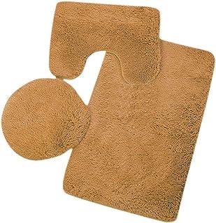 kelebin Microfiber Bathroom Rugs Set Shaggy Soft Bath Mat & U-Shaped Toilet Rug Non-Slip Machine Wash Dry Absorbent Shower