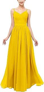 JeniDress Women's Long Spaghetti Straps Chiffon Ruched Formal Evening Gown A-Line Wedding Party Bridesmaid Dress