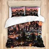 LONSANT Beautiful Sunset of Los Angeles Downtown Skyline and Palm Trees in Foreground Studio Single Apartment Decorate Decorative Custom Design 3 PC Duvet Cover Set Queen/Full