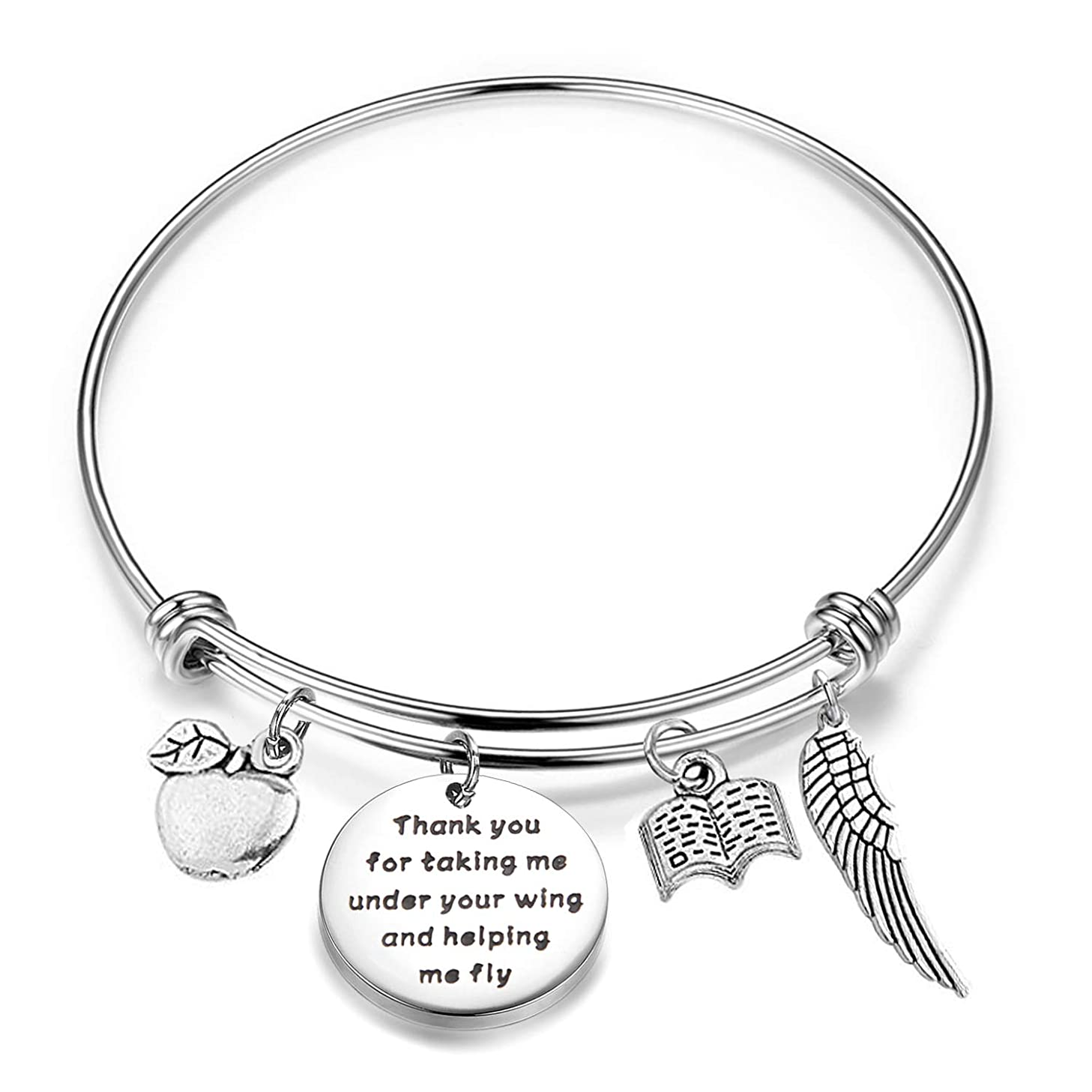 HOLLP Teacher Bracelet Teacher Appreciation Gift Thank You for Taking Me Under Your Wing and Helping Me Fly Gift