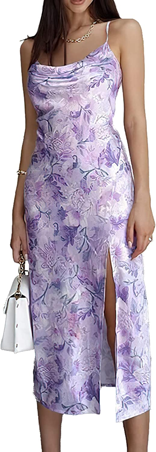 Angelwilla Women's Sleeveless Strap Dress Summer Dresses with Side Slit Floral Print Ruched Neck Dress
