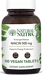 Natural Nutra Extended and Time Release Niacin 500mg (Vitamin B3) - Nerve Support, Heart Health, Detox and Cholesterol Lowering Supplement with Nicotinic Acid - Vegan and Vegetarian - 100 Tablets