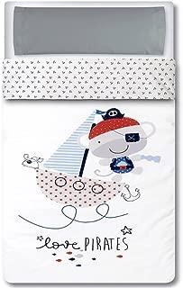 Pirulos 33013320 - Saco nórdico, diseño pirate, algodón, 62 x 125 cm, color blanco y gris