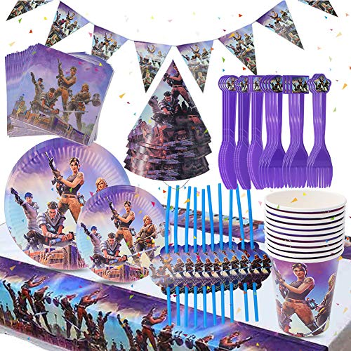 BESLIME Video Gaming Partyzubehör Set einschließlich Banner, Teller, Tassen, Servietten, Hut, Gabeln und Messer Video Gaming Party Supplies für Kinder - 88 Stück
