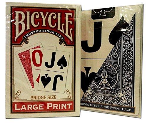 Bicycle Large Print Bridge Playing Cards 2 Decks -(1) Red, (1) Blue by USPCC