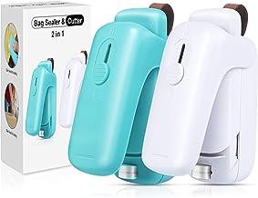 EZCO 2-Pack Bag Sealer Mini, Handheld Bag Heat Vacuum Sealer, 2 in 1 Heat Sealer & Cutter Portable Bag Resealer Machine Fo...
