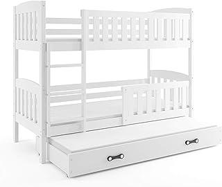 comprar comparacion Interbeds Cama LITERA Triple Infantil Jacob,Color Blanco, 190 * 90, con somieres, colchones de Espuma y Las barreras de Se...