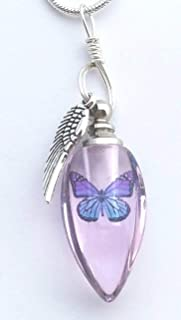 Handmade Cremation Jewelry Urn Bead Butterfly Angel Wing Sympathy Gift Sterling Silver Necklace - PINK
