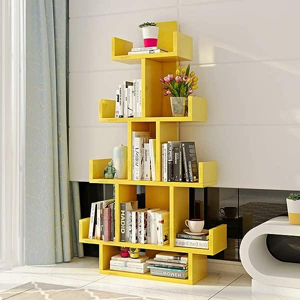 HM DX Tree Bookshelf 10 Compartments Wood Bookcase Furniture Versatile Display Rack Storage Organizer Shelf For Living Room Yellow