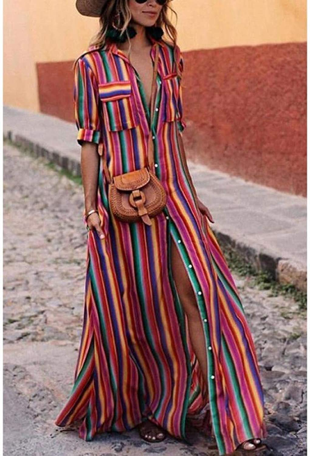 Cxlyq Dresses colorful Red color Print Dress Long Skirt Loose Casual color Striped Shirt Strap Dress