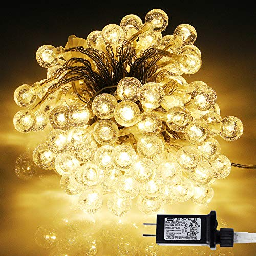 kemooie Globe Fairy Lights ,33Ft 100 Led Connectable Plug in String Lights, 8 Twinkle Modes Waterproof Indoor Outdoor Hanging Lights for Bedroom Patio Garden Christmas Party Wedding ( Warm White)