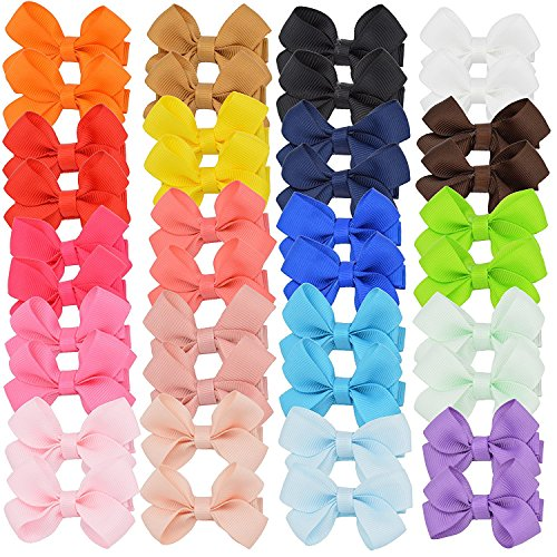 AllinYCC 40pcs Baby Girls Hair Bows Fully Covered Ribbon Hair Clips Barrettes for Baby Fine Hair Toddlers Teens