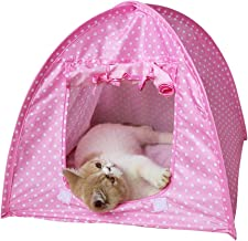 Cat Tent Houses Cute Dot Cat Dog Beds Houses Kennel Waterproof Folding Puppy Pets Houses for Outdoor Travel(Pink Dot)