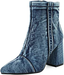 MisaKinsa Women Fashion Ankle Boots Block Heels Denim Booties High Heels