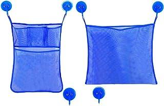 NUOLUX Multifunction Premium Bathtub Toy Organizer Bathing Toy Storage Bags Bath Product Storage with Hook (Blue)