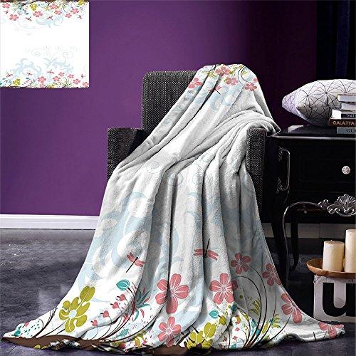 Manta con diseño de libélula de la marca Smbeefly, retro, hippie, con diseño de flores impresas, diseño de flores y hojas, con imagen de microfibra cálida, para cama o sofá, color turquesa y burdeos