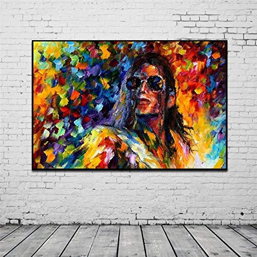 GJQFJBS Resumen Michael Jackson Pintura al óleo Graffiti Impresión en Lienzo Sala de Estar Arte Mural Imagen Decoración para el hogar A4 60x80cm