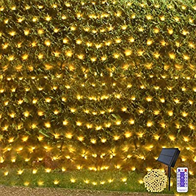 Net String Lights Outdoor Christmas Light Solar Powered 15 x 5ft Mesh Tree wrap Fairy Light Garden Twinkle Light with Remote for Lawn Fence Indoor Xmas Decor(Warm White)