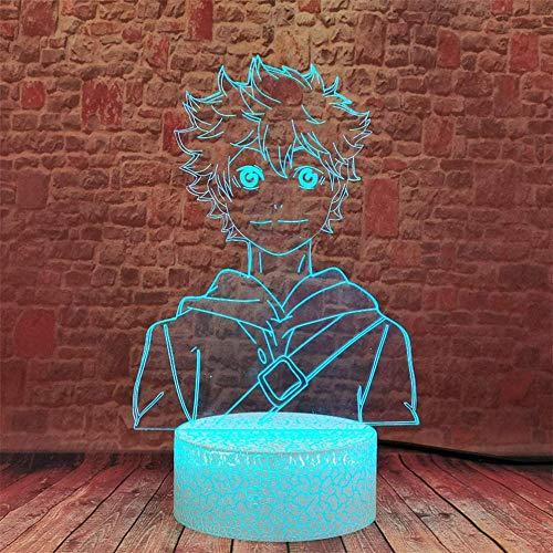 Lámpara de ilusión 3D Haikyuu Shoyo Hinata luz nocturna para niños, 16 colores cambiantes con mando a distancia, regalo de cumpleaños y vacaciones para niños y niñas