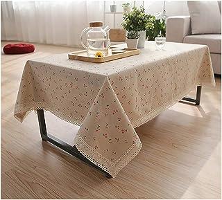 Manteles de algodón y lino de encaje rectangular mantel de