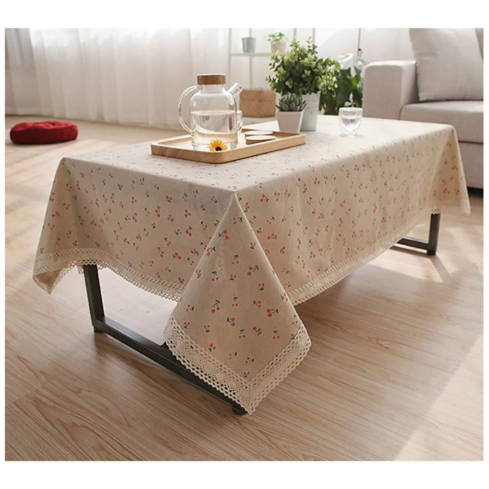 Manteles de algodón y lino de encaje rectangular mantel de mesa de estilo simple natural multiusos para interior y exterior, Madera. Lino algodón, cereza, 55 Wide*80 Length (140*203 CM): Amazon.es: Hogar