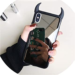 Mirror Phone Case for iPhone 7 6 6S 5 8 Plus Cute 3D Devil Horn Cover for iPhone X Xs Max Xr Hard Acrylic Back Case,A1,for iPhone Xr