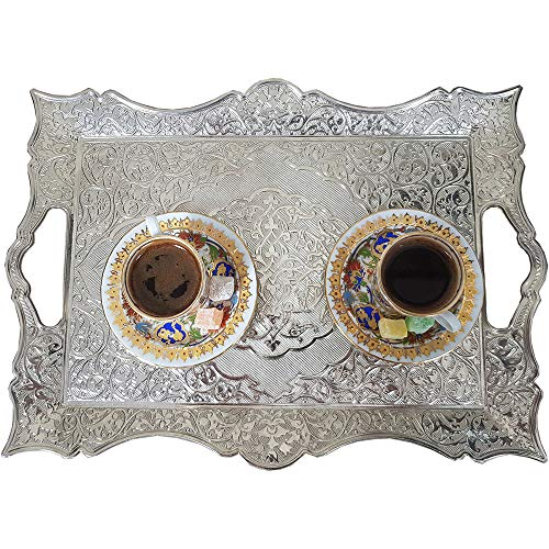 Silver Decorative Turkish Coffee Tea Tray for Serving - Square Large with Handles for Bar Outdoor Dresser Dessert Dinner Kitchen Party