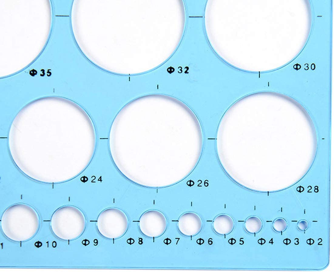 JKJF Circle Template Ruler, Colorful Clear Plastic Washable Circle Drawing Painting Stencils Scale Template Graphics Rulers (4 Pieces)