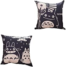 Thedmhom 2 Pcs Cute Kawaii Big Belly Cat Animal Cartoon Anime Totoro Linen Pillow Case Chair Seat Back Cushion Cover Throw Pillow Covers Car Deco Couch Square Pillowslip Home Bed Sofa Decor