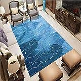 Alfombra moderna para sala de estar, suave al tacto, tamaño grande, alfombra de dormitorio, 160 x 280 cm, color azul