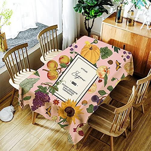XXDD Hermoso Mantel con Estampado de Flores de Guirnalda Impermeable para el hogar, Cubierta de Mesa Rectangular Lavable a Prueba de Polvo A3 140x160cm