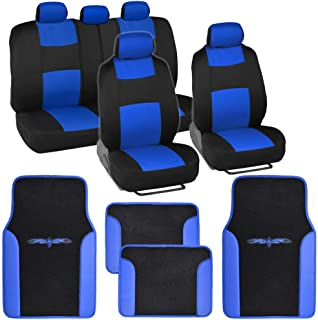 BDK Blue Combo Fresh Design Matching All Protective Seat Covers (2 Front 1 Bench) with Heavy Protection Sleek Graphic Auto Carpet Floor Mats (4 Set)