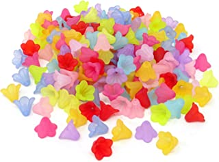 Honbay 200PCS 14mm Assorted Color Frosted Trumpet Flower Beads Acrylic Beads