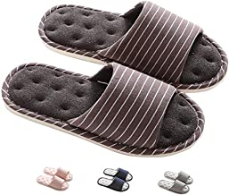 MAGILONA Women Mens Unisex Linen Washable Open-Toe Home Slippers Indoor Shoes Casual Flax Soft Non-Slip Sole Shoes